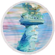 Statue Of Liberty - The Torch Round Beach Towel