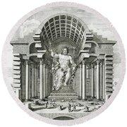 Statue Of Olympian Zeus Round Beach Towel