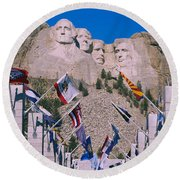 Statues On A Mountain, Mt Rushmore, Mt Round Beach Towel by Panoramic Images