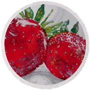 Stawberries Round Beach Towel