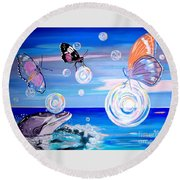Round Beach Towel featuring the painting Stay And Play by Phyllis Kaltenbach