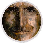 Round Beach Towel featuring the painting Steve... by Laur Iduc