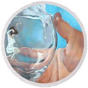 Staying Afloat Round Beach Towel
