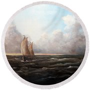 Round Beach Towel featuring the painting Staying Ahead Of The Weather by Lee Piper