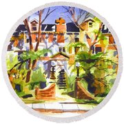 Round Beach Towel featuring the painting Ste Marys Of The Ozarks Hospital by Kip DeVore