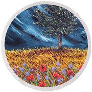 Round Beach Towel featuring the painting Steadfast Love by Meaghan Troup