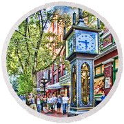 Steam Clock In Vancouver Gastown Round Beach Towel