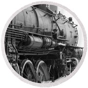 Steam Locomotive 1519 - Bw 02 Round Beach Towel by Pamela Critchlow