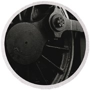 Steam Locomotive Wheels Round Beach Towel