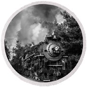 Steam On The Rails Round Beach Towel