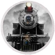 Steam Train Dream Round Beach Towel by Edward Fielding