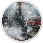 Round Beach Towel featuring the photograph Steam Train by Hanny Heim