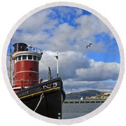 Round Beach Towel featuring the photograph Steam Tug Hercules by Kate Brown