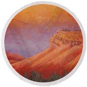 Round Beach Towel featuring the painting Steamboat Mountain At Sunrise by Margaret Bobb