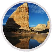 Steamboat Rock In Dinosaur National Monument Round Beach Towel by Nadja Rider