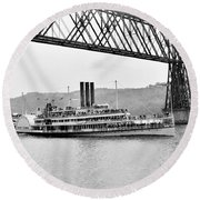 Steamer Albany Under Poughkeepsie Trestle Black And White Round Beach Towel