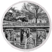 Steaming Through History Round Beach Towel