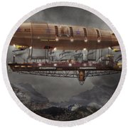 Steampunk - Blimp - Airship Maximus  Round Beach Towel
