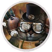 Steampunk Cat Round Beach Towel