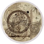 Steampunk Dream Series IIi Round Beach Towel