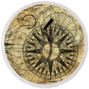 Steampunk Gold Compass Round Beach Towel