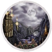 Steampunk Moon Invasion Round Beach Towel