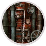 Steampunk - Plumbing - Pipes And Valves Round Beach Towel