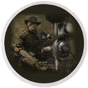 Steampunk - The Man 1 Round Beach Towel by Jeff Burgess