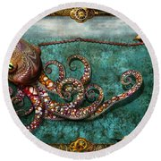 Steampunk - The Tale Of The Kraken Round Beach Towel