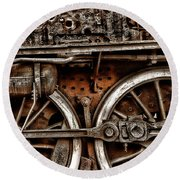 Steampunk- Wheels Locomotive Round Beach Towel