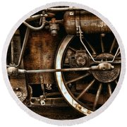 Steampunk- Wheels Of Vintage Steam Train Round Beach Towel