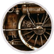 Steampunk- Wheels Of Vintage Steam Train Round Beach Towel