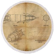 Steampunk Zepplin Round Beach Towel