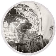 Steel Globe, Columbus Circle Round Beach Towel