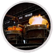 Steel Industry In Smederevo. Serbia Round Beach Towel