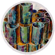 Steel Pipes Round Beach Towel by Lilliana Mendez