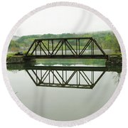 Round Beach Towel featuring the photograph Vermont Steel Railroad Trestle On A Calm  Misty Morning by Sherman Perry