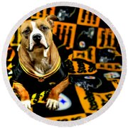 Pitbull Rescue Dog Football Fanatic Round Beach Towel by Shelley Neff