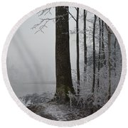 Steep And Frost Round Beach Towel by Felicia Tica