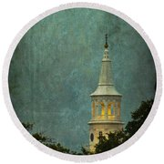 Steeple In A Storm Round Beach Towel