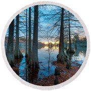 Steinhagen Reservoir Vertical Round Beach Towel
