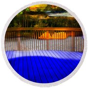 Round Beach Towel featuring the photograph Step Out by Gunter Nezhoda