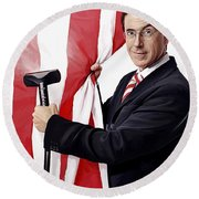 Round Beach Towel featuring the painting Stephen Colbert Artwork by Sheraz A