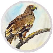 Steppe Eagle Round Beach Towel by Anthony Mwangi