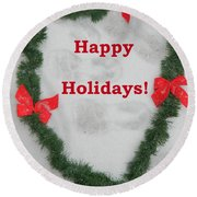 Round Beach Towel featuring the photograph Stepping Into The Holidays by Emmy Marie Vickers