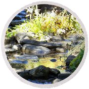 Round Beach Towel featuring the photograph Stepping Stones by Sheri Keith