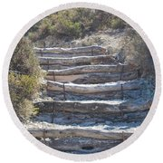 Steps In The Woods Round Beach Towel