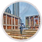 Steps To Fame Lincoln Center Round Beach Towel