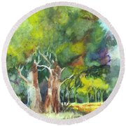 Sterling Forest Round Beach Towel by Carol Wisniewski
