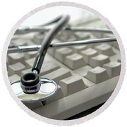Stethoscope On Computer Keyboard Round Beach Towel